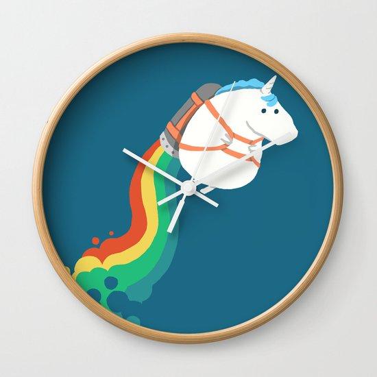 Fat Unicorn on Rainbow Jetpack Wall Clock