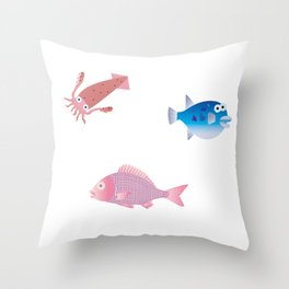 Snapper, Squid and Globefish Throw Pillow