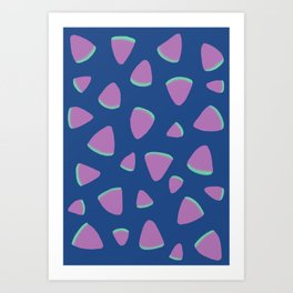 Abstract Graphic Pattern | Blue | Pink | Green Art Print