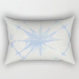 Shibori Starburst Sky Blue on Lunar Gray Rectangular Pillow