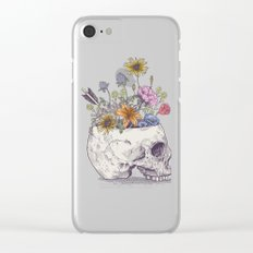 Half Skull Flowers Clear iPhone Case