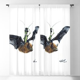""" Rider in the Night "" happy cricket rides his pet bat Blackout Curtain"