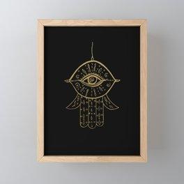 Hamsa Hand Gold on Black #1 #drawing #decor #art #society6 Framed Mini Art Print