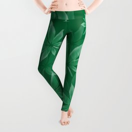 Green Cannabis Leaf Weed Pattern | Marijuana Leaves Design Leggings