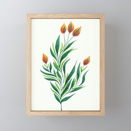 Abstract Green Plant With Orange Buds Framed Mini Art Print
