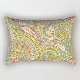 Boho Paisley and Floral Pattern Rectangular Pillow