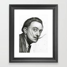 Salvador Dali Watercolor Portrait Framed Art Print