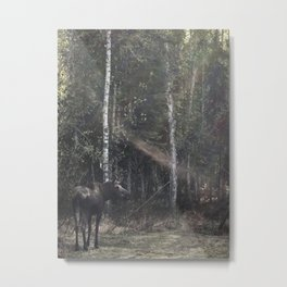 Backyard Moose Metal Print