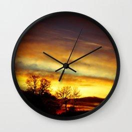 Sunset on an English Christmas Day Wall Clock
