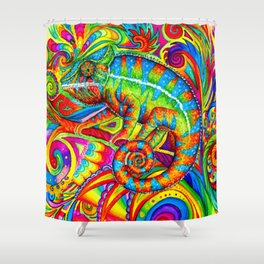 Psychedelizard Colorful Psychedelic Chameleon Rainbow Lizard Shower Curtain