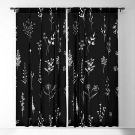 Black wildflowers Blackout Curtain