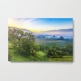 First Light Over Misty Napa Valley Metal Print