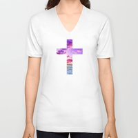 pocketfuel V-neck T-shirts featuring CROSS by Pocket Fuel