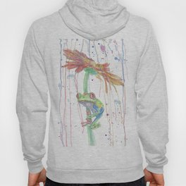 """Watercolor Painting of Picture """"Red Eyed Frog"""" Hoody"""