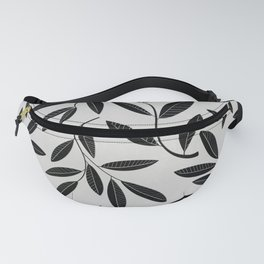 Black and White Plant Leaves Pattern Fanny Pack