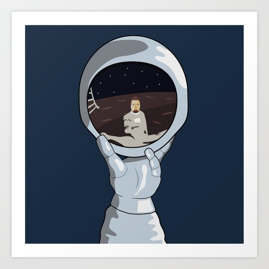hand with reflecting space Art Print