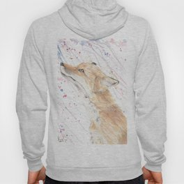 "Watercolor Painting of Picture ""Fox in the Rain"" Hoody"