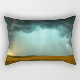 Open the Heavens - Panoramic Storm with Teal Hue in Northern Oklahoma Rectangular Pillow
