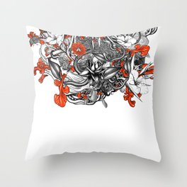 Flower Power White Throw Pillow
