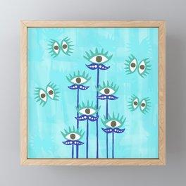 Evil Eye Nazar protective Garden Blue Framed Mini Art Print