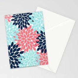 Navy Coral Aqua Floral Pattern Flower Burst Petals Stationery Cards