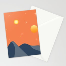 Surreal Blue and Orange Desert Landscape Stationery Cards