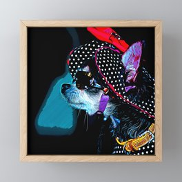 classy chihuahua dog lady vector art moonlight Framed Mini Art Print