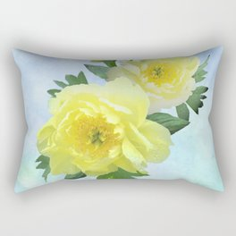 Yellow Peony Bouquet on Painted Sky Rectangular Pillow