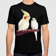 Budgie and Cockatiel Mens Fitted Tee Black LARGE