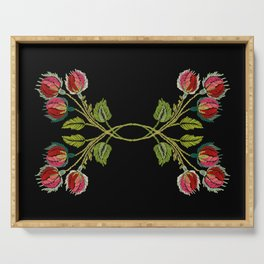 Embroidered Scandi Flowers Serving Tray
