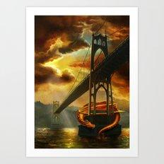 The Dragon of the St Johns Bridge Art Print