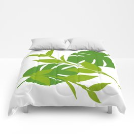 Simply Tropical Leaves with White background Comforters