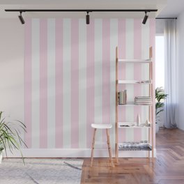Simple Pink and White stripes, vertical Wall Mural