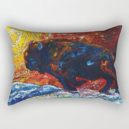 Bison Running print of OLena Art Wild the Storm Oil Painting With Palette Knife #society6 Rectangular Pillow