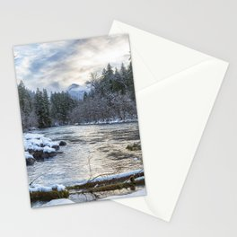 Morning on the McKenzie River Between Snowfalls Stationery Cards