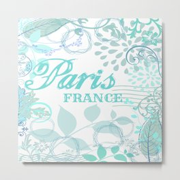 Paris France Blue French Vintage Style Print Metal Print