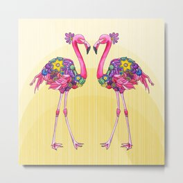 Flamingo Friends Metal Print