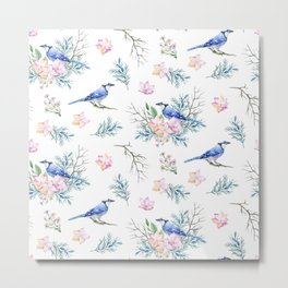 Chic Watercolour Blue Jay Spring Flowers Metal Print