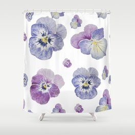 Watercolor Pansy Pattern Shower Curtain