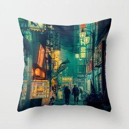 Tokyo Nights / Memories of Green / Blade Runner Vibes / Cyberpunk / Liam Wong Throw Pillow