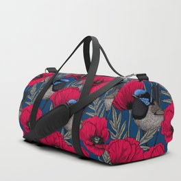 Fairy wren and poppies Duffle Bag