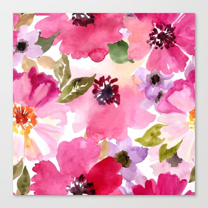 Watercolor Flowers Pink Fuchsia Leinwanddruck