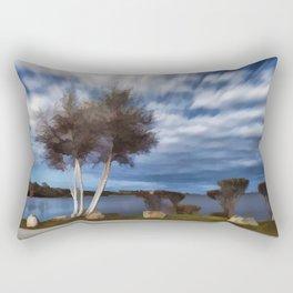 Birch tree by the pond Rectangular Pillow