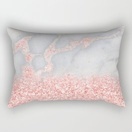 Sparkly Pink Rose Gold Glitter Ombre Bohemian Marble Rectangular Pillow