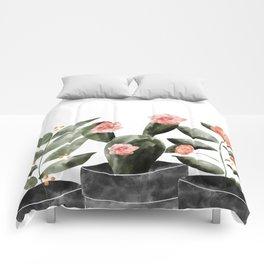 Watercolor Cactus Floral Comforters