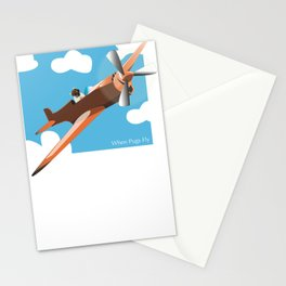When Pugs Fly Stationery Cards