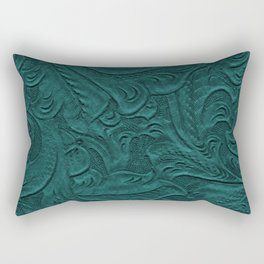 Deep Teal Tooled Leather Rectangular Pillow
