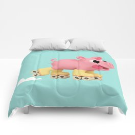Rosa the Pig does Rollerskating Comforters