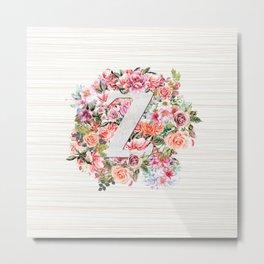 Initial Letter Z Watercolor Flower Metal Print