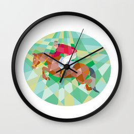 Equestrian Show Jumping Oval Low Polygon Wall Clock